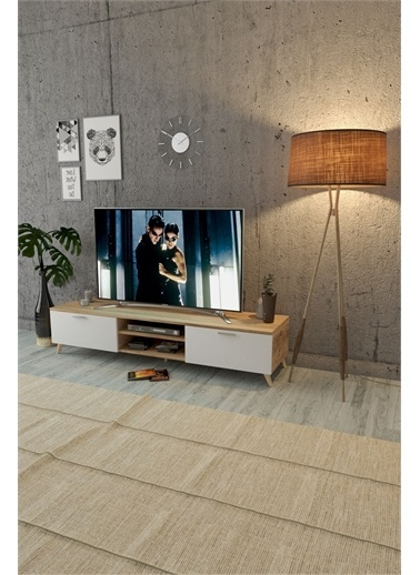 Mobitopya Tv Ünitesi Altı / 2 Kapaklı / Atlantik Çam ve Beyaz Renkli